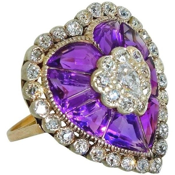 Preowned Antique Ring With Fancy Cut Amethysts And Diamonds ($7,490) ❤ liked on Polyvore featuring jewelry, rings, cluster rings, purple, antique amethyst rings, enhancer ring, pear cut diamond ring, heart shaped rings and fancy diamond rings