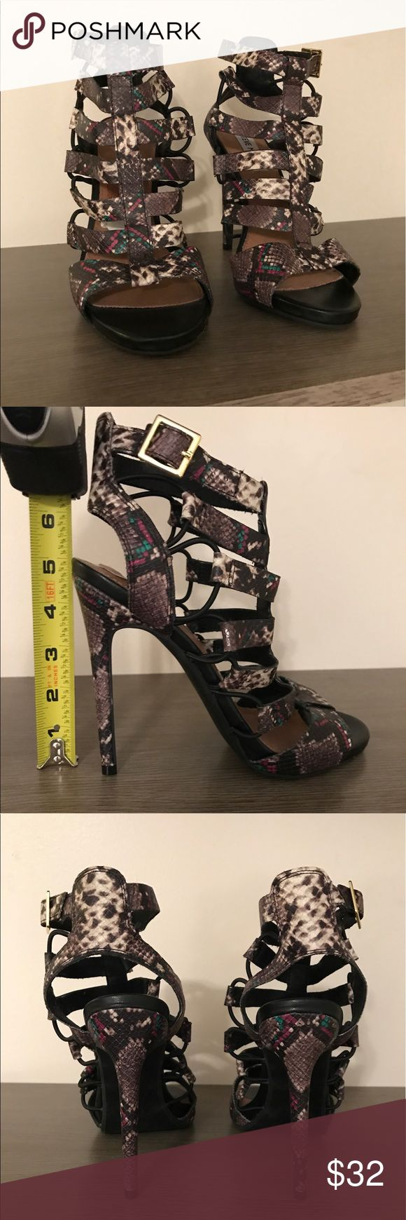 Steve Madden High Heel Cage Sandal *New* without box, super sexy, high heel, caged, snake skin sandal by Steve Madden. These are a size 7 1/2 and fit true to size. Steve Madden Shoes Heels