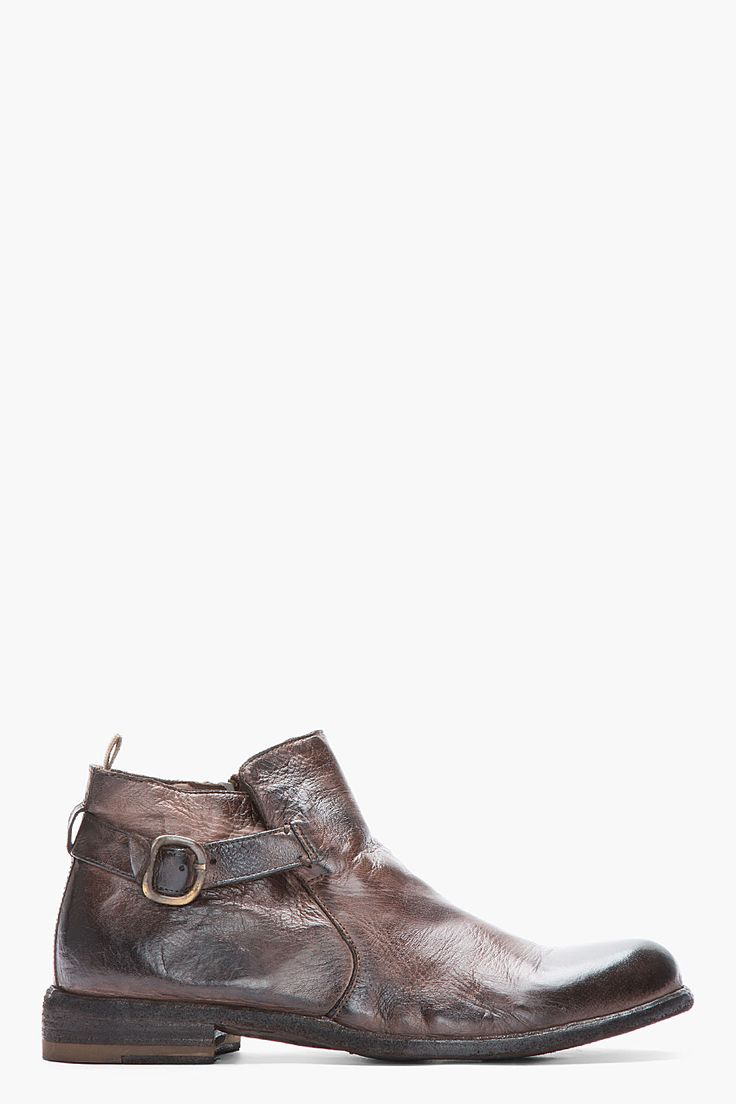 OFFICINE CREATIVE Dark Brown Polished Leather Ankle Strap Boots