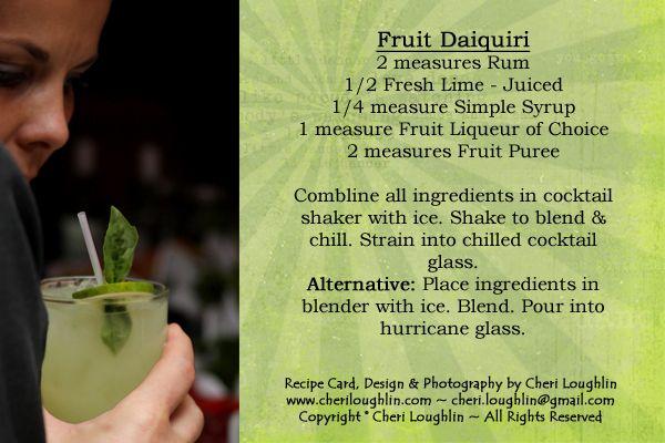 Fruit Daiquiri Cocktail Recipe Card - photo copyright Cheri Loughlin