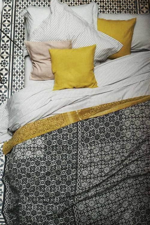 #BLACK #WHITE AND #YELLOW #BED #LINEN FROM http://www.toast.co.uk/ SS13 collection #interior #design