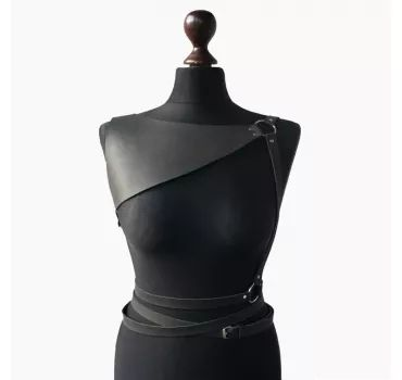 Женская кожаная черная портупея Women Belt Leather Oblepikha - Women's Belts - http://amzn.to/2hOqA0h