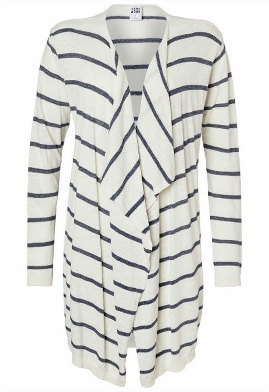 Everly Draped Cardigan | 27 Boutique The Everly Draped Cardigan from Vero Moda, featuring white with navy blue stripes. The perfect layering piece.