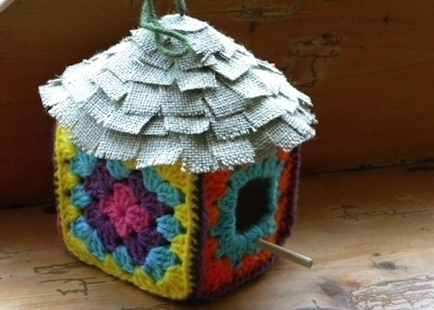 Crochet a birdhouse with a normal hook.  | 26 DIYs Your Pet Will Totally Appreciate