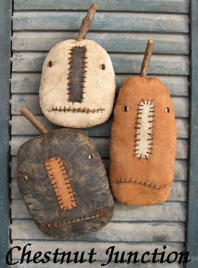 Three Jacks EPATTERN...primitive halloween pumpkin cloth doll craft digital download sewing pattern...PDF...1.99