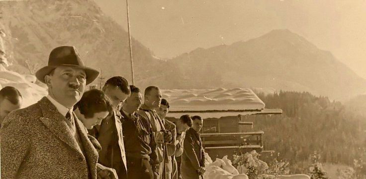 On the Obersalzberg in January, 1935. Hitler is shown with Erna Hoffmann and others, including Fritz Wiedemann. Note Hitler wearing his wool vest, only worn at the Berghof.