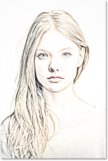 The sketch is now colorized. Image © 2014 Photoshop Essentials.com