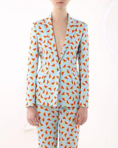 Geometric print blazer