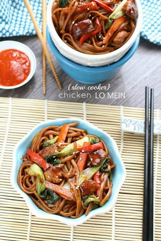 {Slow cooker} Chicken Lo Mein Noodles -  an easy crock-pot meal that is flavorful and versatile & perfect for busy weeknights.  No need to order takeout – this is way better and healthier!