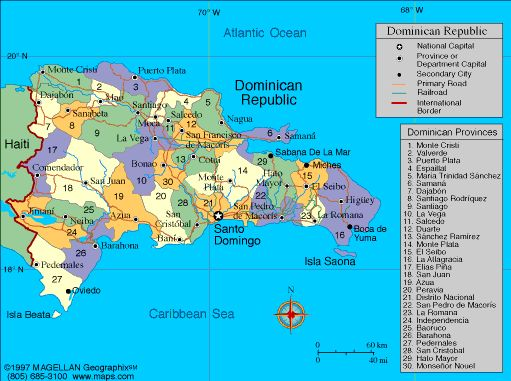 President: Danilo Medina (2012)  Land area: 18,680 sq mi (48,381 sq km); total area: 18,815 sq mi (48,730 sq km)  Population (2014 est.): 10,349,741 (growth rate: 1.25%); birth rate: 18.97/1000; infant mortality rate: 19.63/1000; life expectancy: 77.8  Capital and largest city (2011 est.): Santo Domingo, 2.191 million  Other large city: Santiago de los Caballeros, 501,800  Monetary unit: Dominican Peso