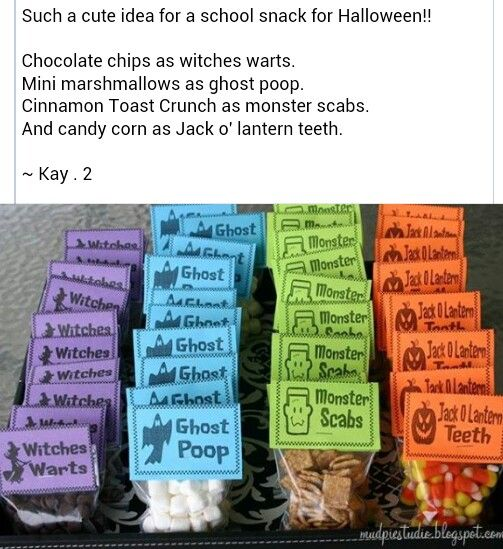 I LOVE this! I like the cute titles for each snack, and then you can combine them to make a sensational Monster Mash!