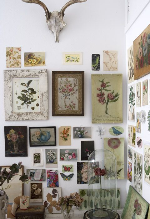 Geraldine James. Interiors, Mood Board, Feature Wall, Floral, Botanical Prints, Skull, Taxidermy Dome.www.origin-of-style.com