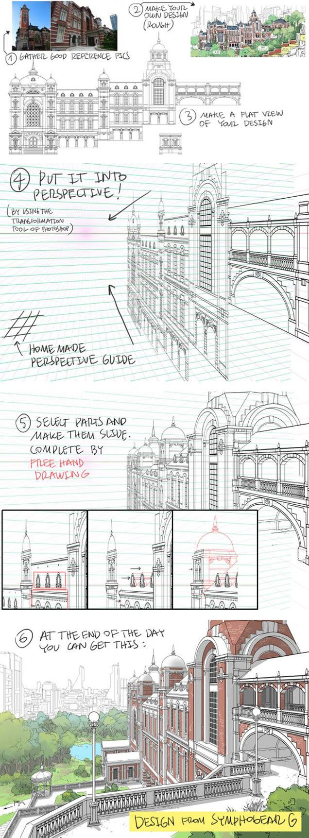 How to Draw Detailed Buildings - by Thomas Romain (one of the few foreigners working in the anime industry in Japan)
