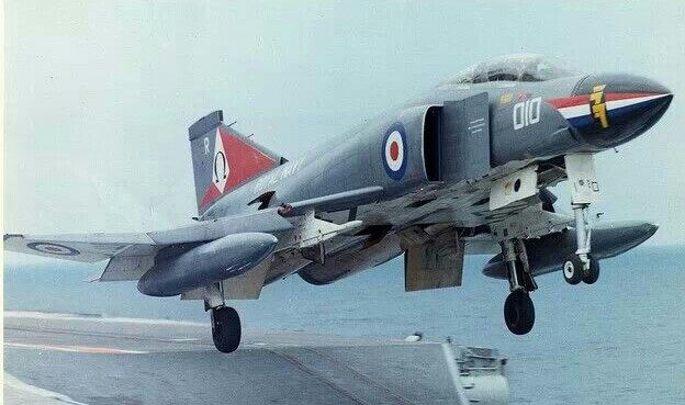 Royal Navy McDonnell-Douglas F-4K Phantom II FGR.1 launching from the HMS Invincible