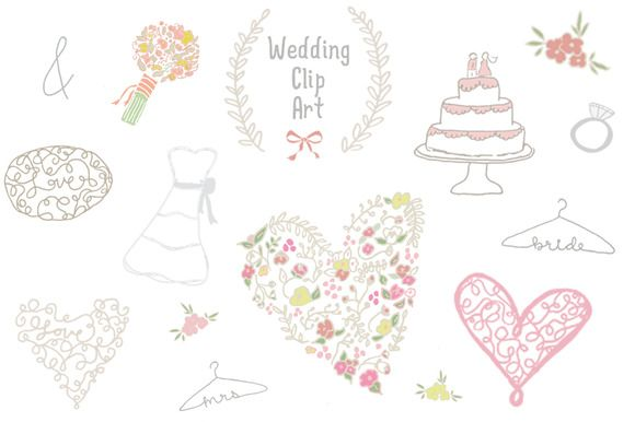 Wedding Clip Art ~ Illustrations on Creative Market http://crtv.mk/eN1s. This clip art set has a whimsical look and feel.