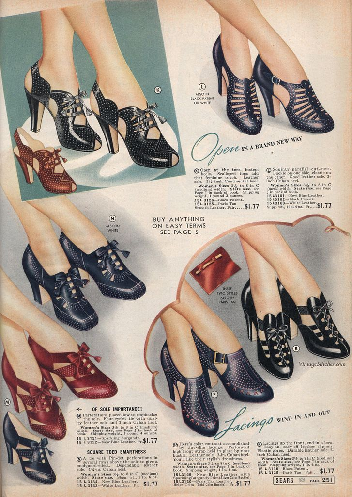 Ladies' Shoes   1939 Spring and Summer Sears, Roebuck & Co.   VintageStitches.com