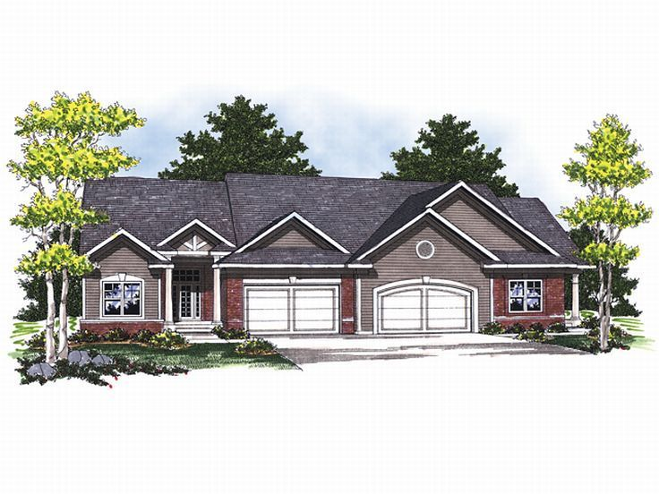 2 bed 2 bath basement each multi family house plan 020m - Unique House Plans