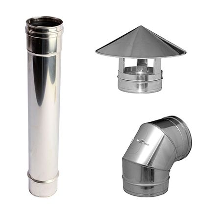 Dinak 80 mm simple pared acero inox leroy merlin tubos - Tubos chimenea leroy merlin ...