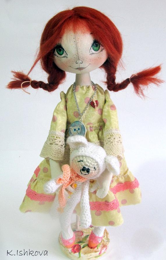 Textile Cloth Art doll Lida fairyred by ArtDollsByKseniya on Etsy, $87.00    I love these doll!