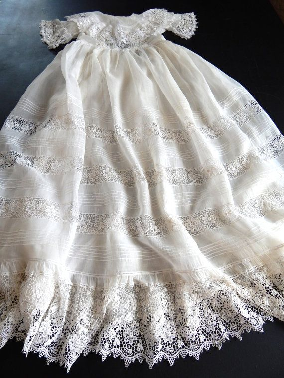 French Antique Christening Gown in Fine by Vintagefrenchlinens
