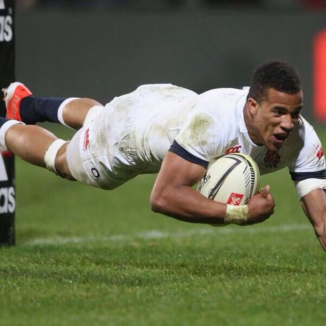Nice shot of @anthonywatson_ getting some air as he went over to score today. #CRUvENG #england #rugby #englandrugby #carrythemhome #Padgram