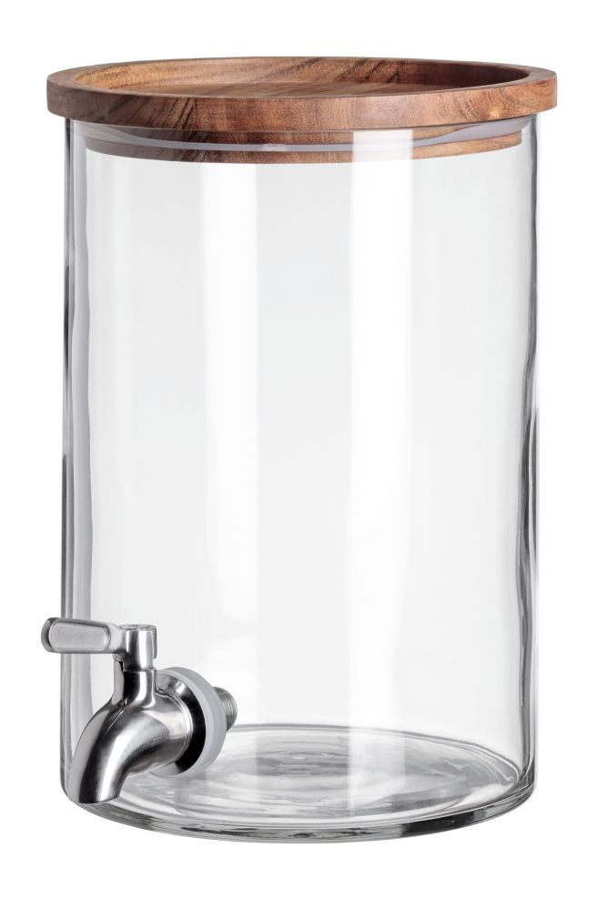 CLEAR GLASS DRINKS DISPENSER WITH TAP