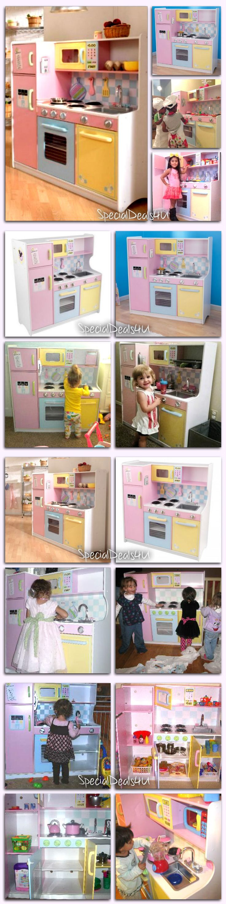 Kitchens 158746: Kids Pretend Play Kitchen Playset Cooking Imagination Food Wood Toy Children New -> BUY IT NOW ONLY: $179.95 on eBay!