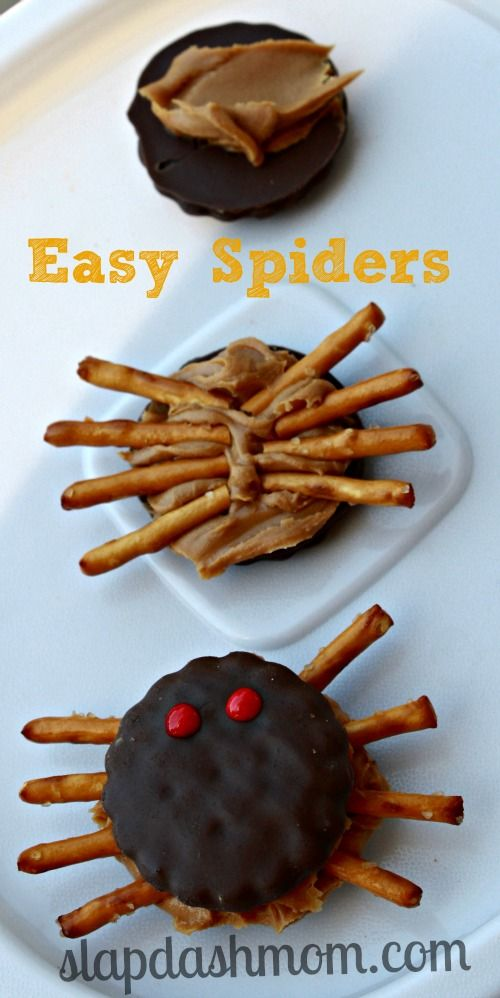 easy spider cookies---would be fun to make to end our Spider unit!!  May have to use something other than peanut butter though.