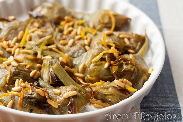 Carciofi caramellati con pinoli e limone