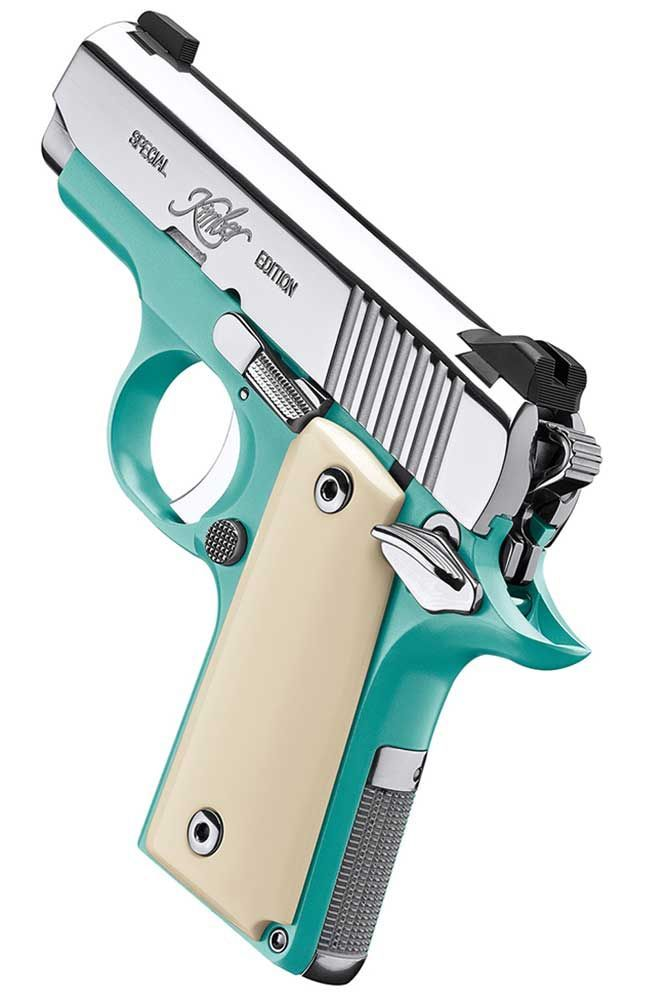 Kimber   Micro Bel Air. This gun is gorgeous. I love the fact that it's turquoise and not pink.
