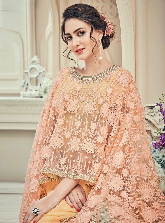 ca64bd27b7 PAKISTANI LIGHT ORANGE PANCHHO SUITS | FAUX GEORGETTE | DIGITAL PRINT ON  CHAIN | STITCH EMBROIDERY … | Pakistani Suits | Mughal Design Dresses |  Kurtis ...