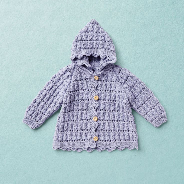 PEGGY SUE Jacket KNIT KIT for baby knit cardigan with raglan sleeves in shell pattern