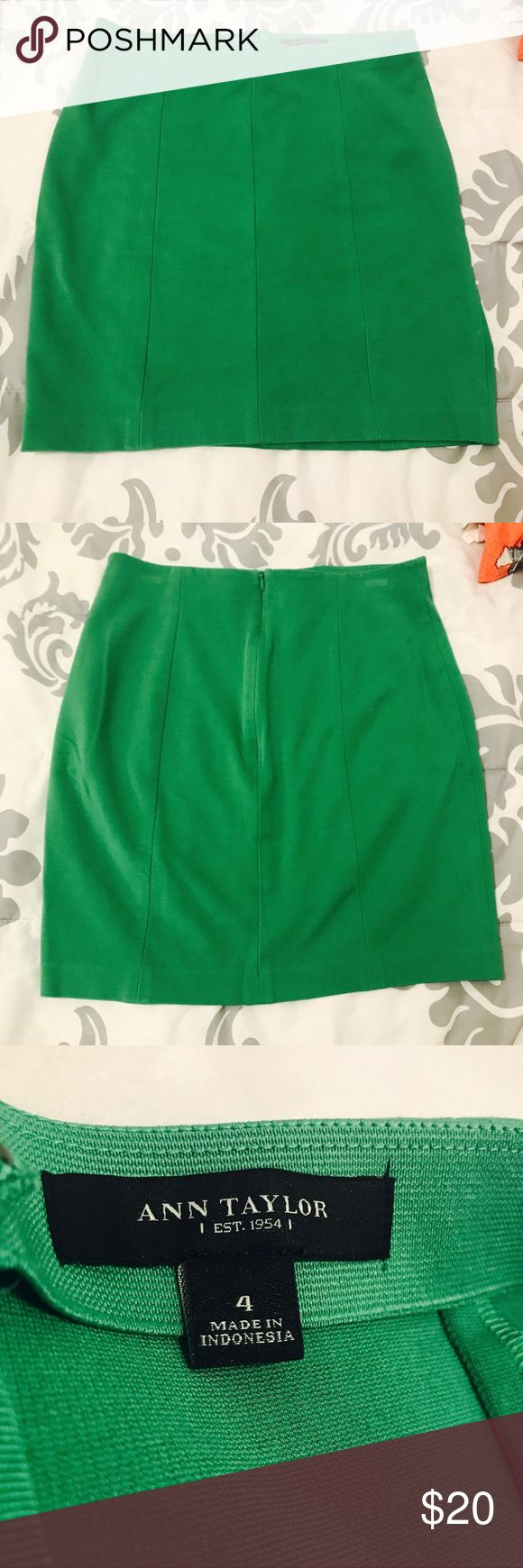 """Ann Taylor Emerald Green """"Mini"""" Skirt Beautiful emerald green skirt, classic Ann Taylor! Super classy but also playful and flattering. Letting go of this piece only because it is a bit too big for me now. Worn only a handful of times, in awesome condition! Only slight flaw are small tension marks on either side where hanger clasps were (tried to picture but so feint/unnoticeable they didn't really turn out; will reflect in price). Open to offers and bundle 2+ items for 15% off! Ann Taylor…"""
