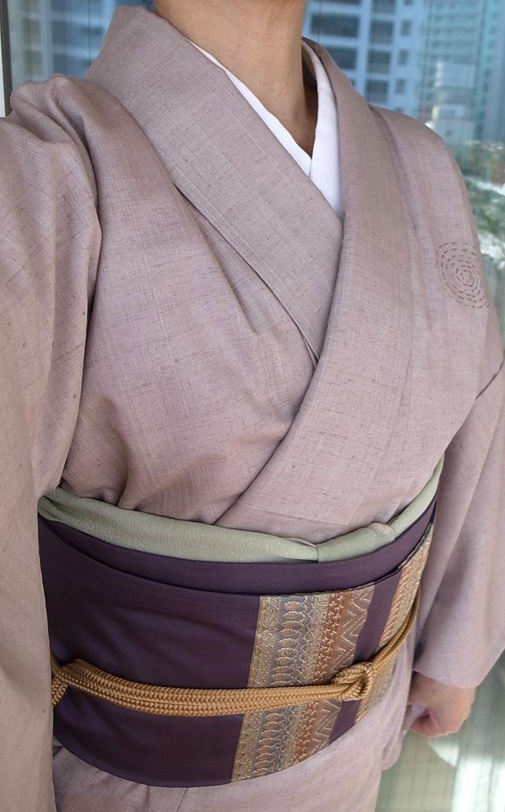 11月上旬、結城紬、織名古屋帯