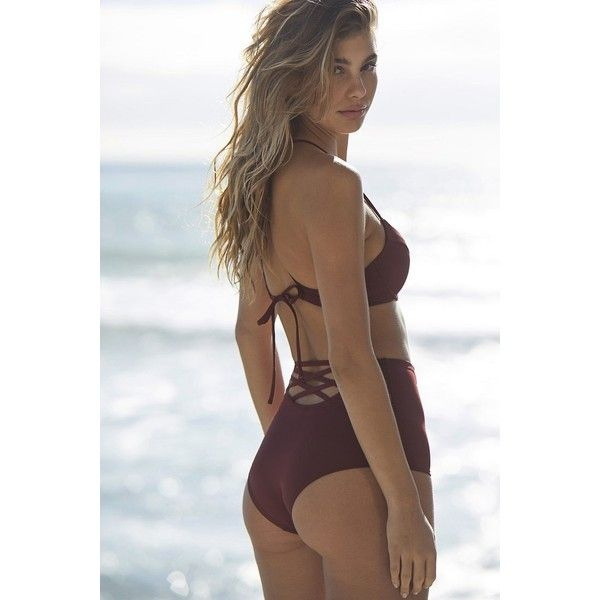 Out From Under Strappy Back High-Waisted Bikini Bottom ($45) ❤ liked on Polyvore featuring swimwear, bikinis, bikini bottoms, bottom bikini, high waisted bikini, retro swimwear, high-waisted swimwear and high-waisted bikinis