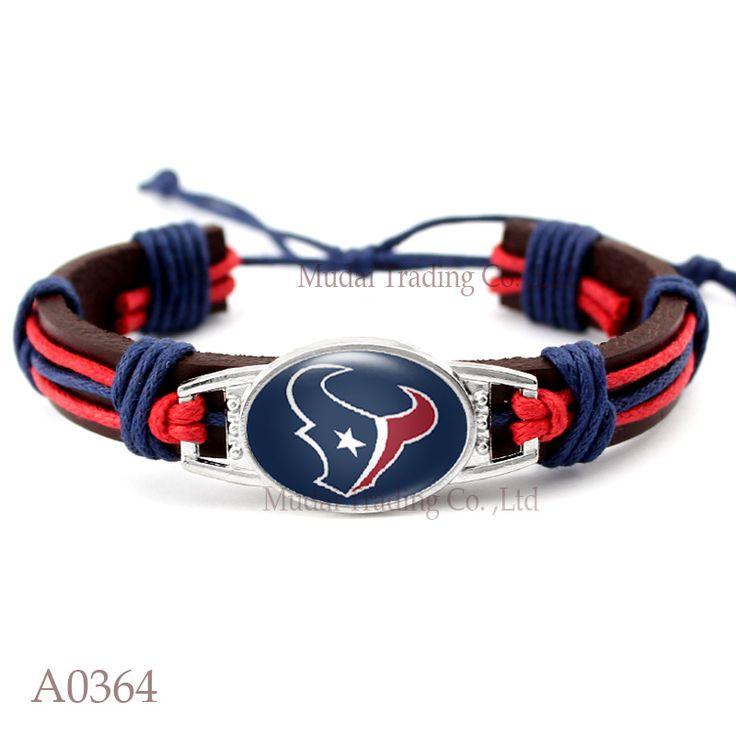 (10 PCS/lot) Adjustable Houston Leather Cuff Texans Bracelet for Football Fan Casual Football Team Wristband Bangle Jewelry