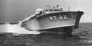 USS PT-32, one of the four PT-20 class motor torpedo boats involved with General Douglas MacArthur's escape from the Philippines, 11 March 1942.