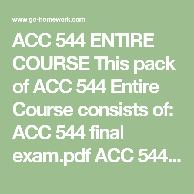 ACC 544 ENTIRE COURSE This pack of ACC 544 Entire Course consists of:  ACC 544 final exam.pdf ACC 544 Week 1 DQS.doc ACC 544 Week 1 Recommendation Brief for an Internal Auditor.doc ACC 544 Week 2 DQS.doc ACC 544 Week 2 Justification for an Internal Control System.doc ACC 544 Week 3 DQS.doc ACC 544 Week 3 Internal Control Evaluation Checklist.doc ACC 544 Week 4 DQS.doc ACC 544 Week 4 Internal Controls for Inflows.doc ACC 544 Week 5 Controls for Outflows.doc ACC 544 Week 5 DQS.doc ACC 544 Week…