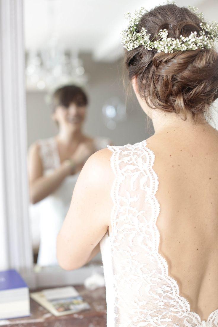 #bride #couronnedefleurs #chignonbas #mariée #hair #brideshair #coiffuredemariée By Mel
