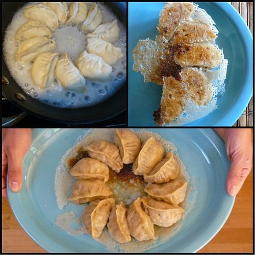 """Cheap, fun tips and tricks for putting crispy bottoms and """"skirts"""" on your pot stickers!"""