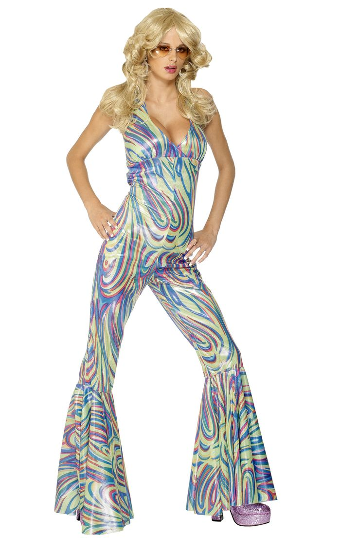 Costume disco camaleonte donna: Questo costume da ballerina di discoteca per donna comprende la tuta effetto camaleonte e i pantaloni a zampa d'elefante. (Scarpe e occhiali non inclusi). Fate salire la febbre della disco in...