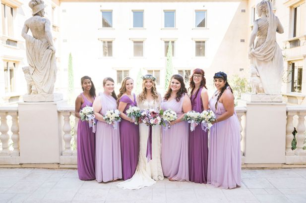 Purple ombre mismatched bridesmaid dresses | Manhattan Beach Wedding at Ayres Hotel | Peterson Design & Photography | See more on My Hotel Wedding: https://www.myhotelwedding.com/blog/2016/11/15/manhattan-beach-wedding-ayres-hotel