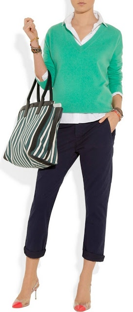 Outfit Posts: outfit post: kelly green sweater, white button down, black skinny jeans