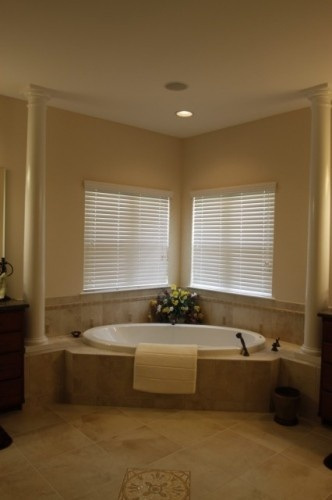 25 best images about corner tub and window area on for Master bathroom with corner tub