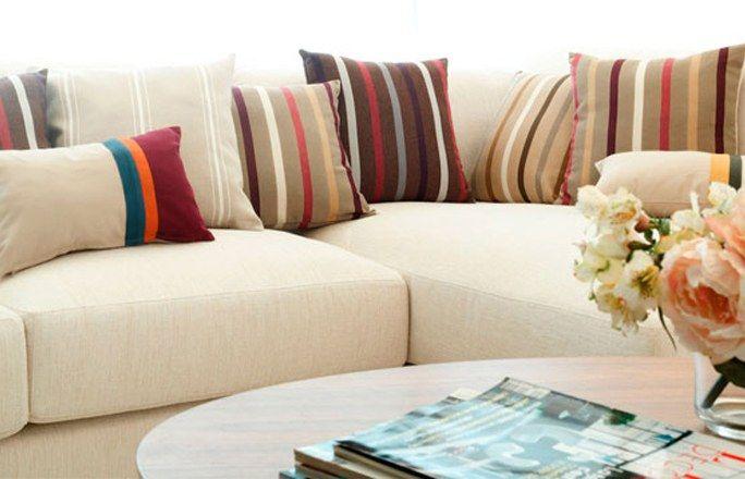 Decoración cojines rayas moderno - Decoración cojines sofá