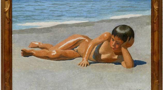 På stranden. J.F. Willumsens (painting of a reclining boy is from 1904) maleri…
