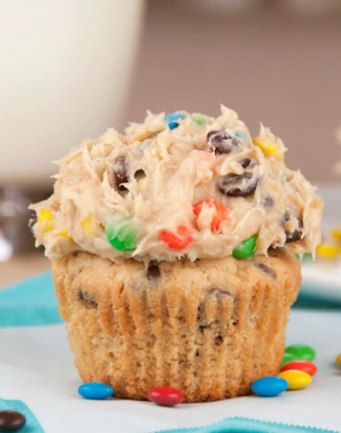 Monster Cookie Dough Cupcakes || Featured on http://www.thebestblogrecipes.com