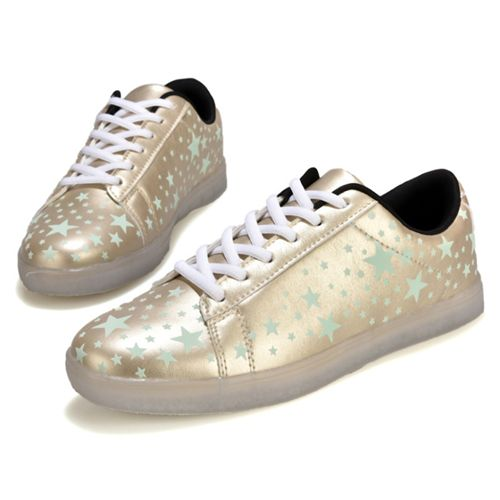 Golden Light Up Trainers Stars For Adults