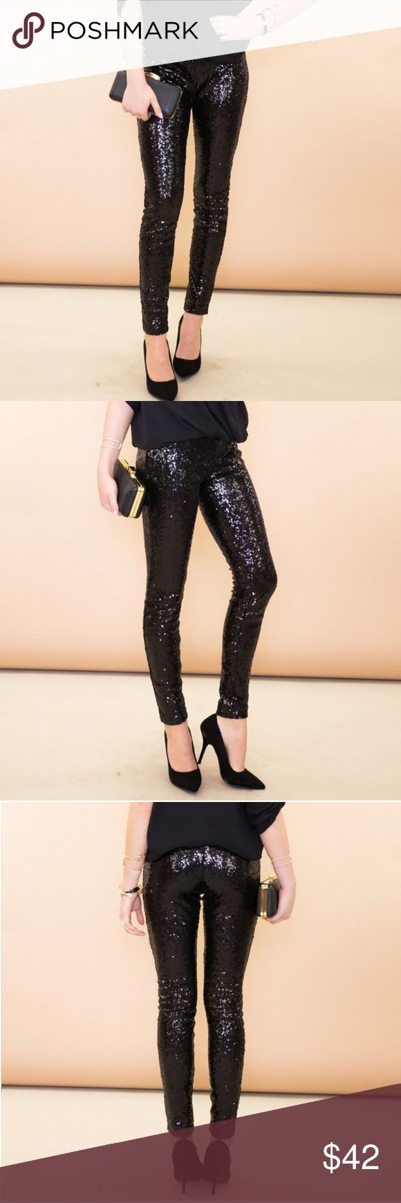 Black Sequin Leggings Gorgeous black sequin leggings, brand new with tags!! Tag says a size Large but is Asian sizing and will fit like a Small. Make a statement!! These are fabulous!! 🖤 Pants Leggings