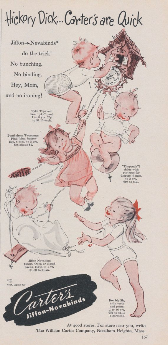 Mid Century Carter's Children's Clothing Ad by AdVintageCom
